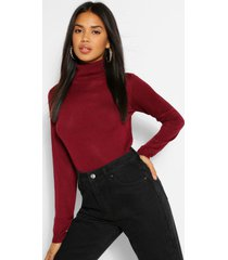basic rib knit roll neck sweater, berry