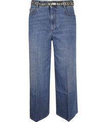 stella mccartney wide leg belted jeans
