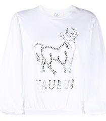 alberta ferretti taurus crystal-embellished sweatshirt - white