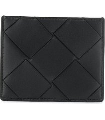 bottega veneta maxi weave card case - black