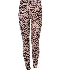 low waist suede leopard broek beige