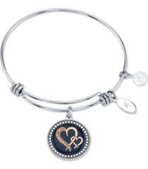 "unwritten ""sisters are joined heart to heart"" enamel bangle bracelet in stainless steel & rose gold-tone with silver plated charms"