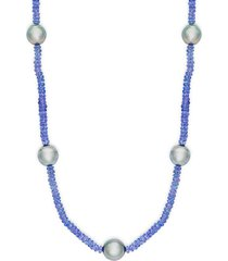9-10mm black tahitian pearl & beaded tanzanite station necklace