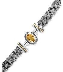 effy citrine braided bracelet (5-3/8 ct. t.w.) in sterling silver & 18k gold