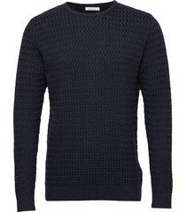 field o-neck structured knit - gots gebreide trui met ronde kraag blauw knowledge cotton apparel