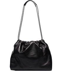 jil sander drawstring shoulder bag - black