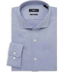 boss hugo boss men's mark sharp-fit dotted dress shirt - blue - size 16.5 l