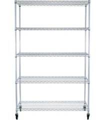 trinity ecostorage 5-tier wire shelving rack with nsf includes wheels