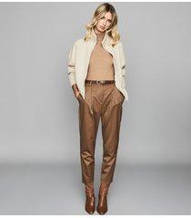 reiss peyton - chunky zip through cardigan in neutral, womens, size xxl