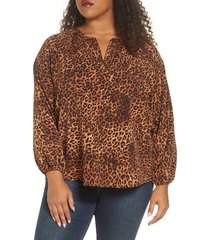 plus size women's bobeau julius leopard print long sleeve crepe blouse