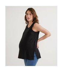 blusa regata em viscose com detalhe no peito em zíper para amamentação maternity | maternity | preto | gg