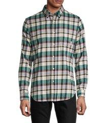 ben sherman men's plaid stretch-fit shirt - forest - size xl