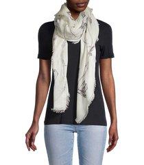 alexander mcqueen women's birdy fringed scarf - ivory black