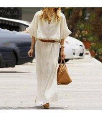 zanzea manga larga para mujer cuello en v de algodón dreess floja ocasional de túnica holgados vestidos maxi -beige
