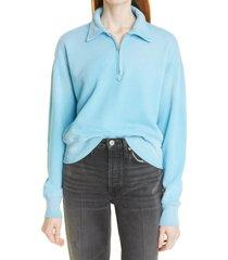 re/done '70s half zip cotton fleece sweatshirt, size small in faded sky at nordstrom