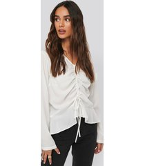 na-kd drawstring long sleeve blouse - white