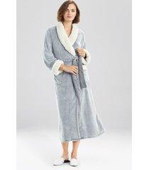 natori sherpa two-tone robe, women's, black, size l natori