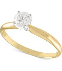 certified diamond solitaire engagement ring (1/2 ct. t.w.) in 14k white or yellow or rose gold
