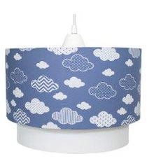 lustre tubular duplo nuvem chevron marinho quarto bebê infantil unissex azul potinho de mel