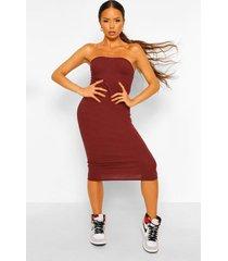 geribbelde strapless midaxi jurk met hartvormige hals, chocolate