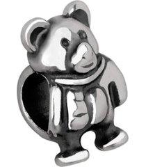 berloque joia em casa urso prata