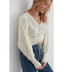trendyol knit drawstring detail sweater - offwhite