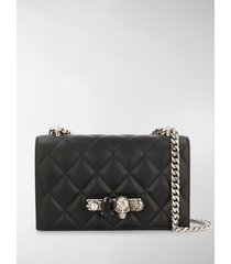 alexander mcqueen black bejewelled knuckle duster shoulder bag