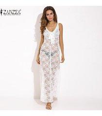 vestido 2017 zanzea mujer cuello en v encaje floral fiesta pura club maxi vestido largo verano sin mangas transparente sundress casual (blanco) -blanco