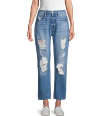 frame women's heritage original high-rise destroyed jeans - bell flower - size 25 (2)