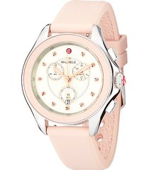 cape stainless steel rose topaz silicone strap watch