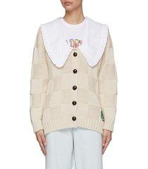 ruffle collar woven check smiley face cardigan
