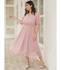 tallas grandes rosa cuello en v tirantes elásticos mangas cortas maxi vestido
