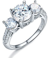925 sterling silver 3-stone wedding ring 2 carat created diamond vintage style