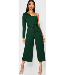one sleeve bustier style jumpsuit, green