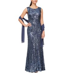 alex evenings sequined gown and shawl