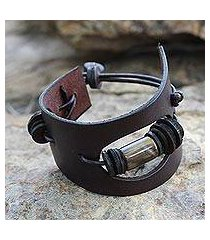 men's leather and horn wristband bracelet, 'cut away in brown' (ghana)