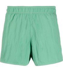 isabel marant short de natação com logo bordado - verde