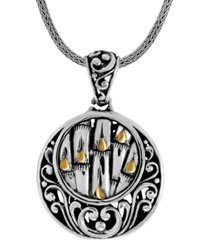 bamboo classic sterling silver pendant necklace embellished by 18k gold accents