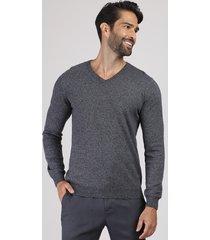 suéter masculino em tricô gola v cinza mescla escuro