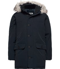 anf mens outerwear parka jas blauw abercrombie & fitch