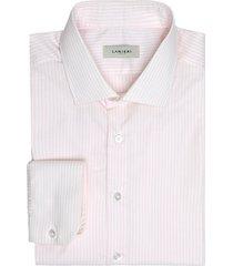 camicia da uomo su misura, albini, natural stretch riga rosa, quattro stagioni | lanieri