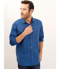 camisa dudalina manga longa fio tinto slub masculina (preto, 7)