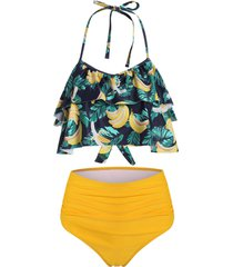 banana leaf print ruffles ruched halter tankini swimsuit