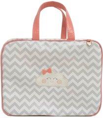 bolsa maternidade chevron cinza com coral nuvem alinhado baby - tam p - rosa - menina - dafiti