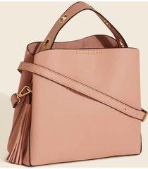 bolso de mano cuadrado pequeño. rosado uni