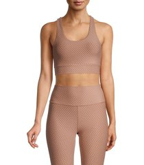 all fenix women's piper dot-print sports bra - taupe - size s