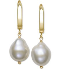 belle de mer cultured baroque freshwater pearl (11-12mm) drop earrings in 14k gold