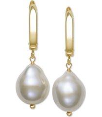 belle de mer cultured baroque freshwater pearl (11-12mm) drop earrings in 14k gold