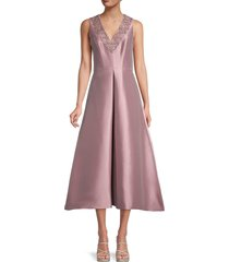 theia women's embellished-neck fit-&-flare dress - mauve - size 10