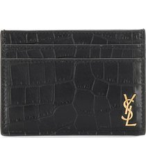 saint laurent monogram embossed card holder - black